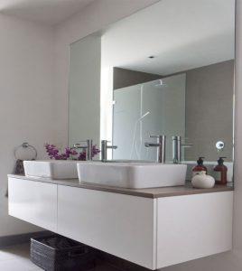 frameless bathroom mirror by Hopkins glass and Shower Door