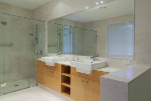 custom cut mirror by Hopkins Glass and Shower Doors