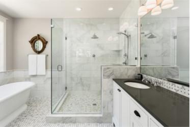custom cut frameless shower by Hopkins Glass MN