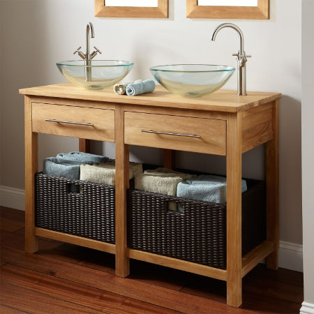 wood bathroom vanity with double bowl sink
