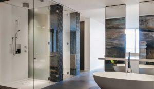 custom cut frameless glass shower by Hopkings Glass and Shower Doors