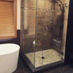custom cut frameless shower door by Hopkins Glass MN