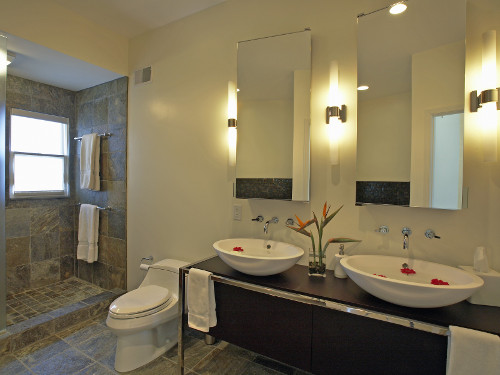 custom cut rectangular bathroom vanity mirrors by Hopkins Glass and Shower Door