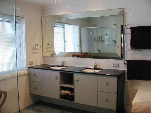 large bathroom custom cut horizontal vanity mirror Hopkins Glass and Shower Door