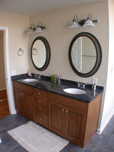 custom cut framed oval bathroom vanity sink mirror Hopkins Glass and Shower Door Minnesota