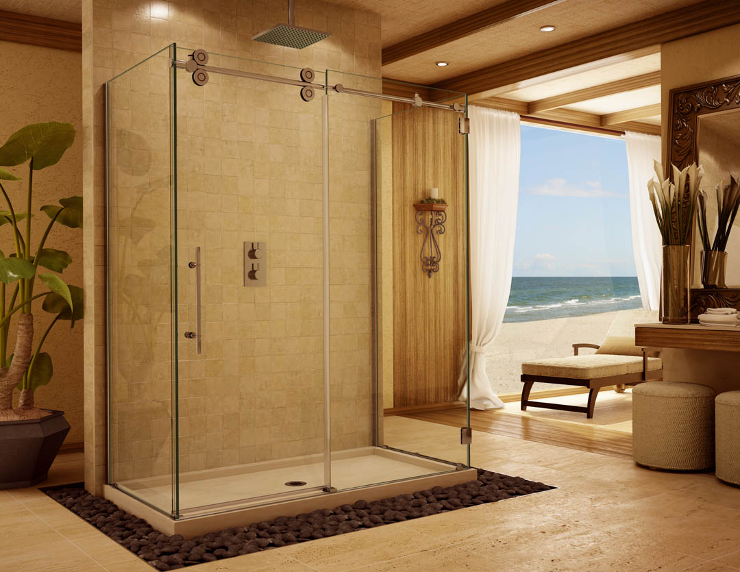 barn style frameless glass shower doors and enclosures