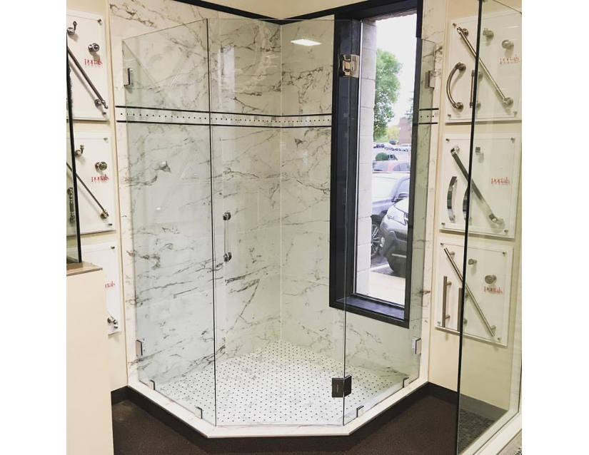 neo angle frameless glass shower doors and enclosures Hopkins Glass and Shower Door