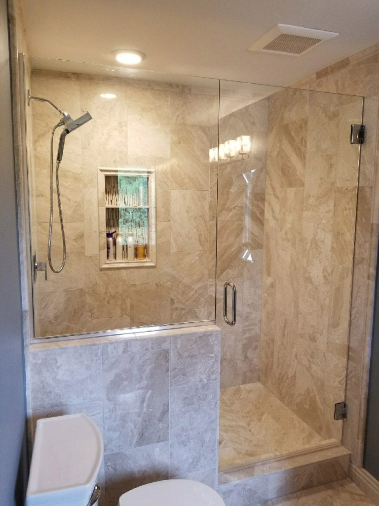 inline door and panel custom frameless glass shower door