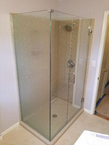 frameless glass shower door with panel and 90 degree return