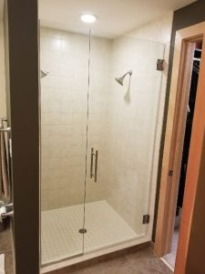 inline door and panel custom frameless glass shower doors