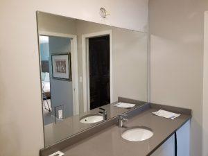 custom cut bathroom vanity mirror by Hopkins Glass Minnesota MN