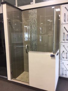 FRAMELESS HEAVY GLASS 90 DEGREE CORNER SHOWER ENCLOSURE WITH (2) STATIONARY BUTTRESS PANELS